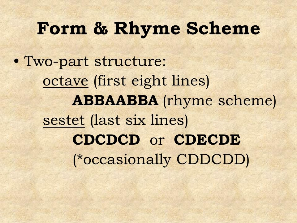 Form & Rhyme Scheme Two-part structure: octave (first eight lines)