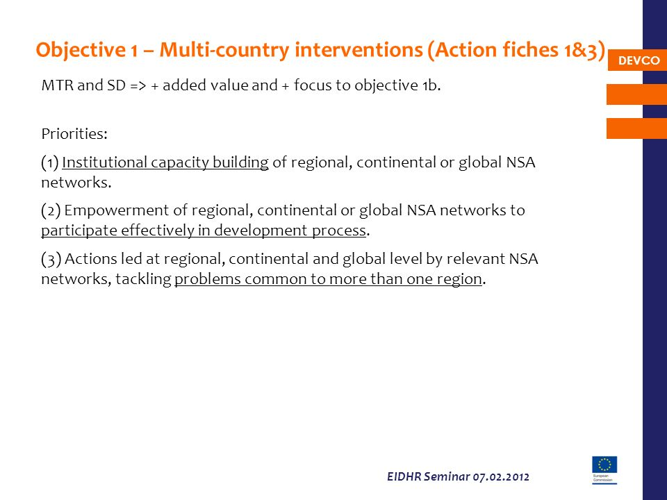 Objective 1 – Multi-country interventions (Action fiches 1&3)