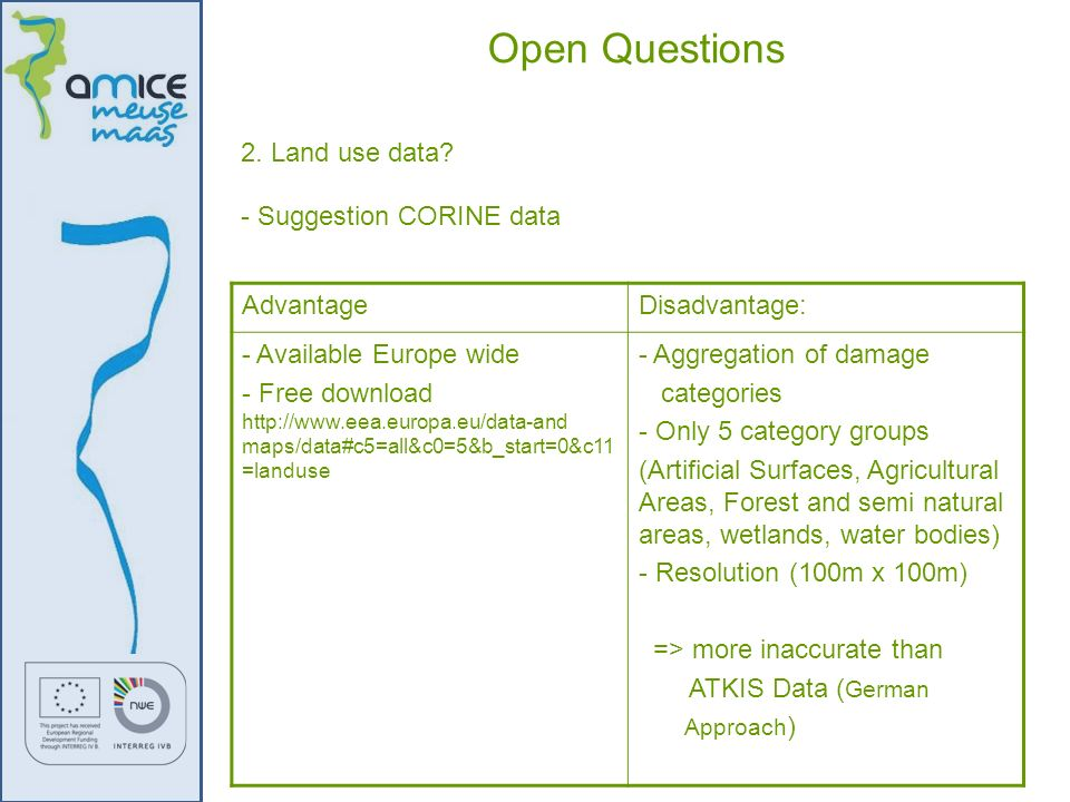 Open Questions 2. Land use data - Suggestion CORINE data Advantage