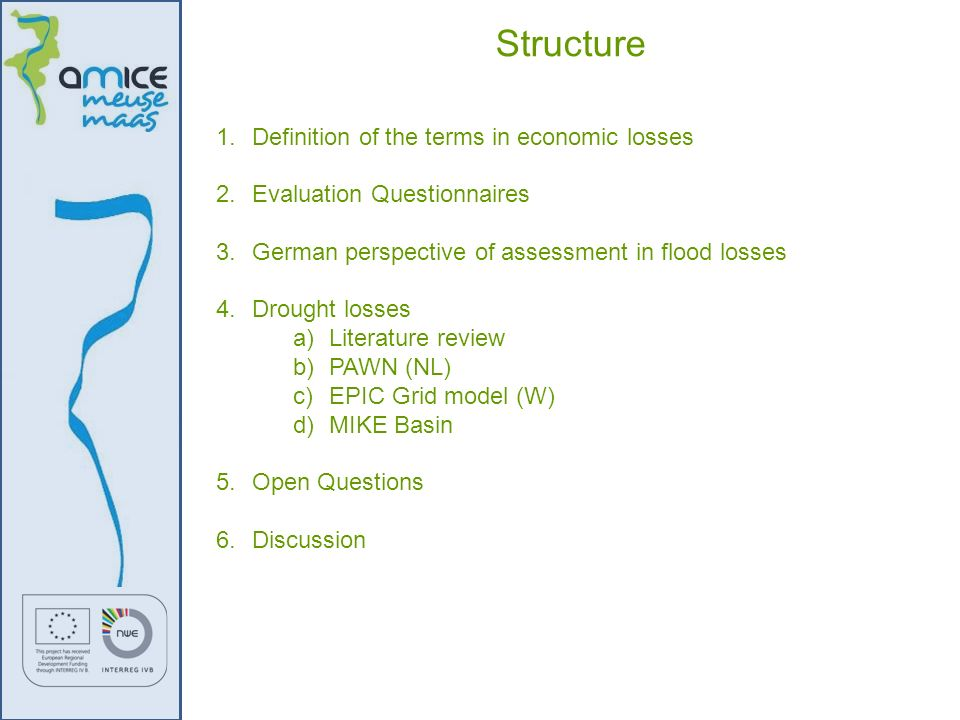 Structure Definition of the terms in economic losses