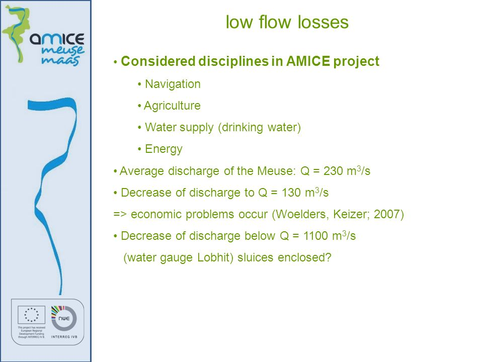 low flow losses Considered disciplines in AMICE project Navigation
