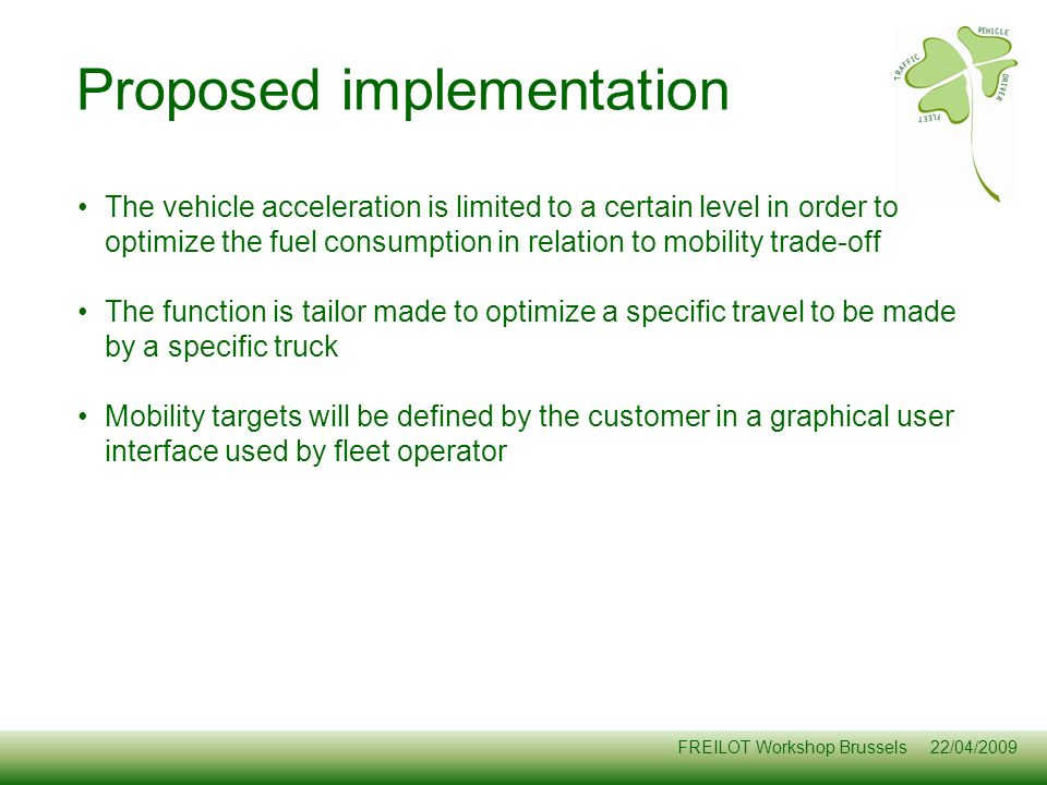 Proposed implementation