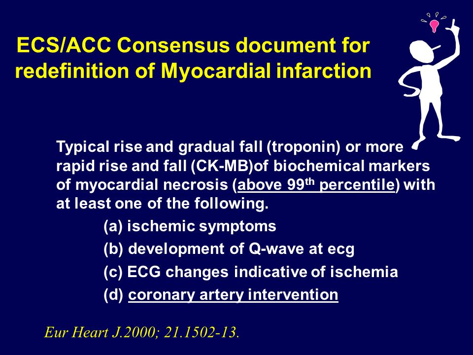 ECS/ACC Consensus document for redefinition of Myocardial infarction
