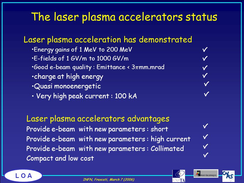 The laser plasma accelerators status