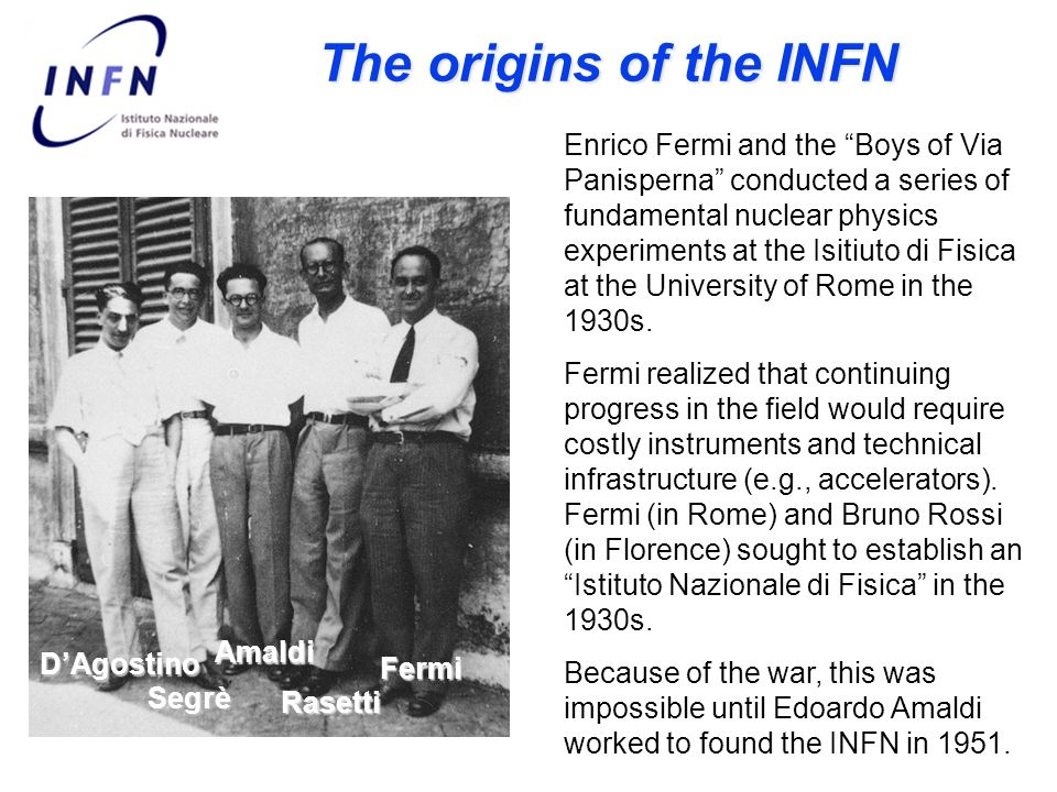 The origins of the INFN