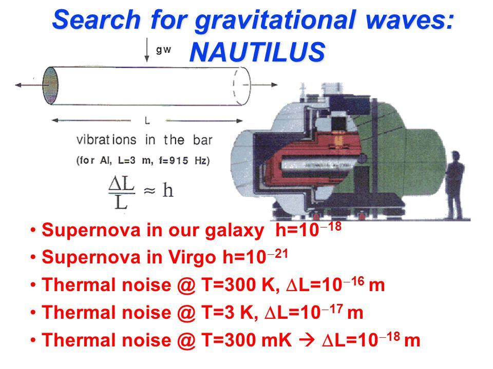 Search for gravitational waves: NAUTILUS