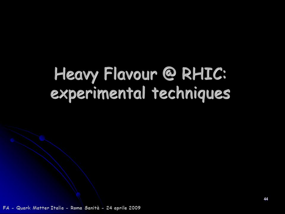 Heavy RHIC: experimental techniques