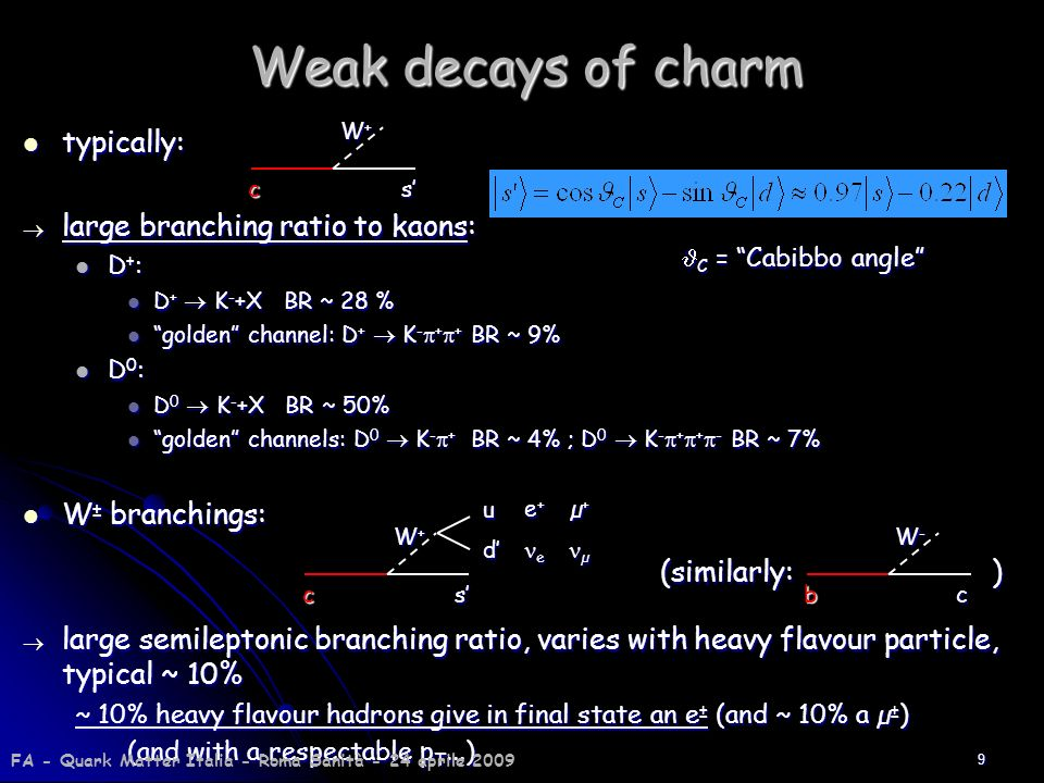 Weak decays of charm typically: large branching ratio to kaons: