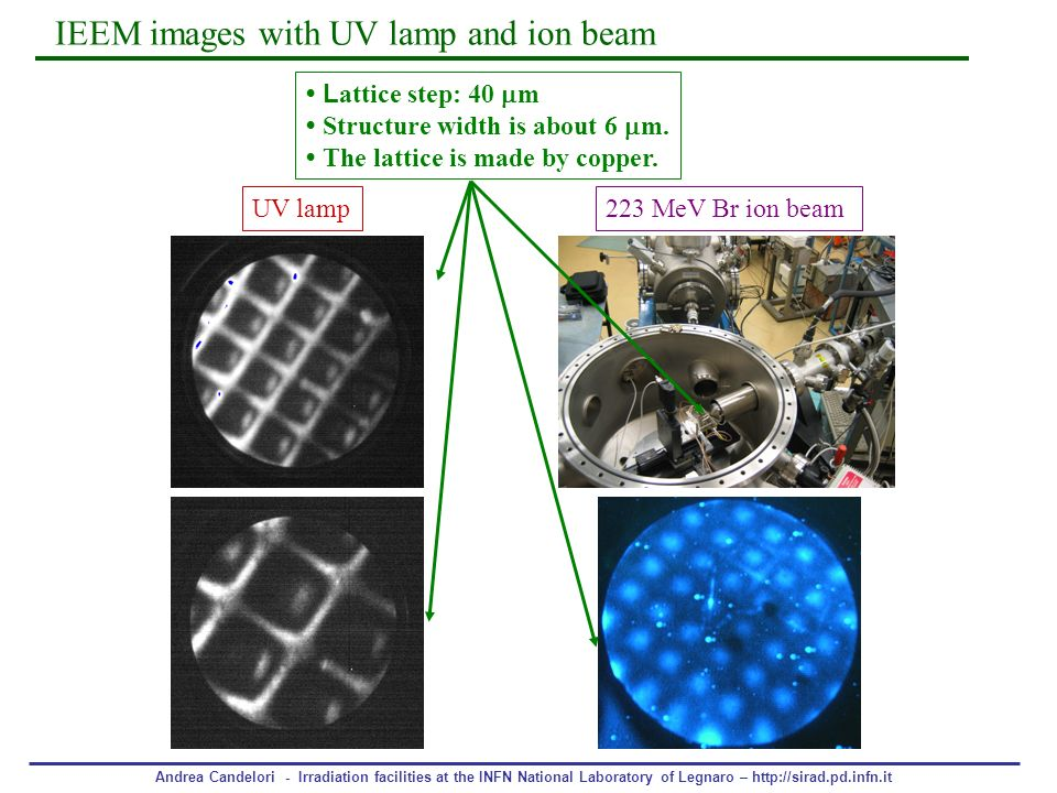 IEEM images with UV lamp and ion beam
