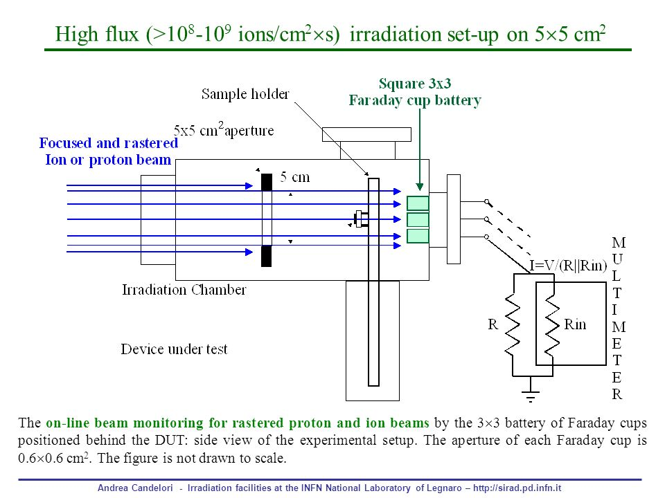 High flux (> ions/cm2s) irradiation set-up on 55 cm2