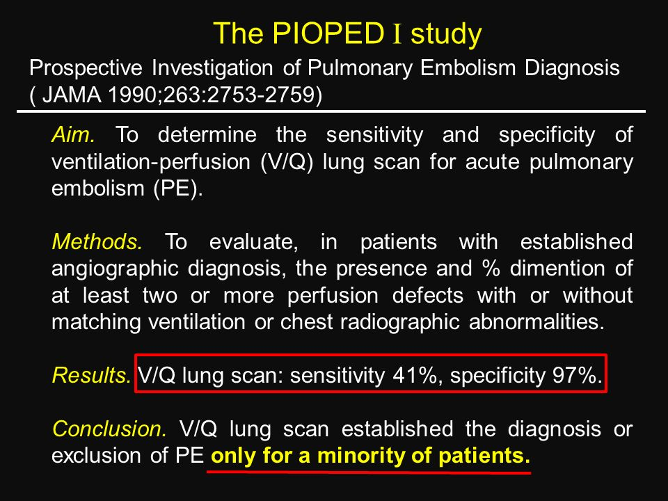 The PIOPED  study Prospective Investigation of Pulmonary Embolism Diagnosis. ( JAMA 1990;263:2753-2759)