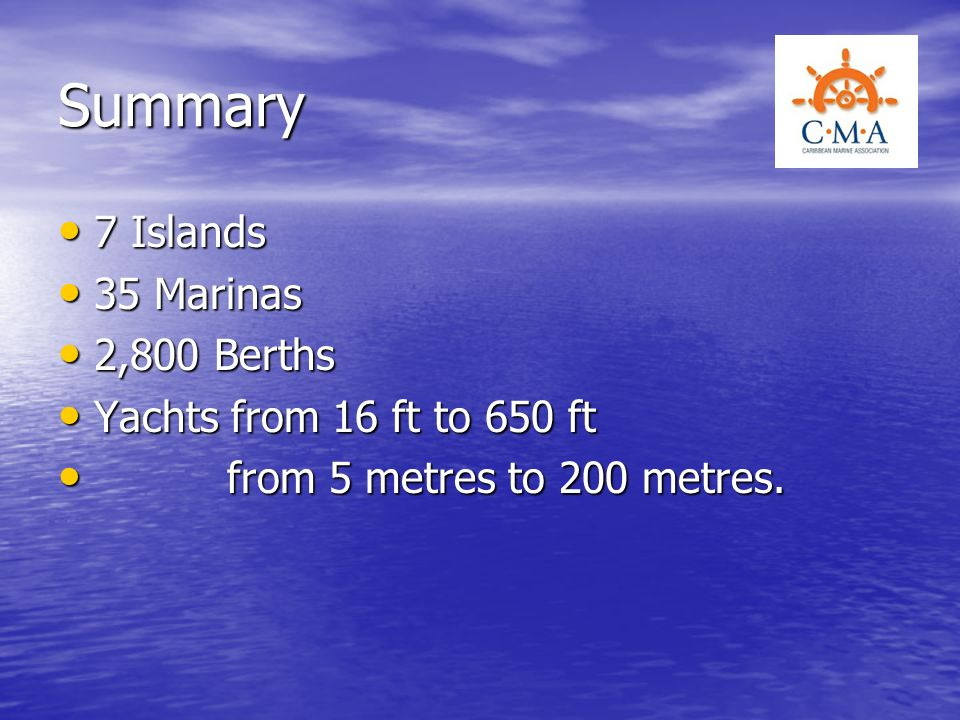Summary 7 Islands 35 Marinas 2,800 Berths Yachts from 16 ft to 650 ft