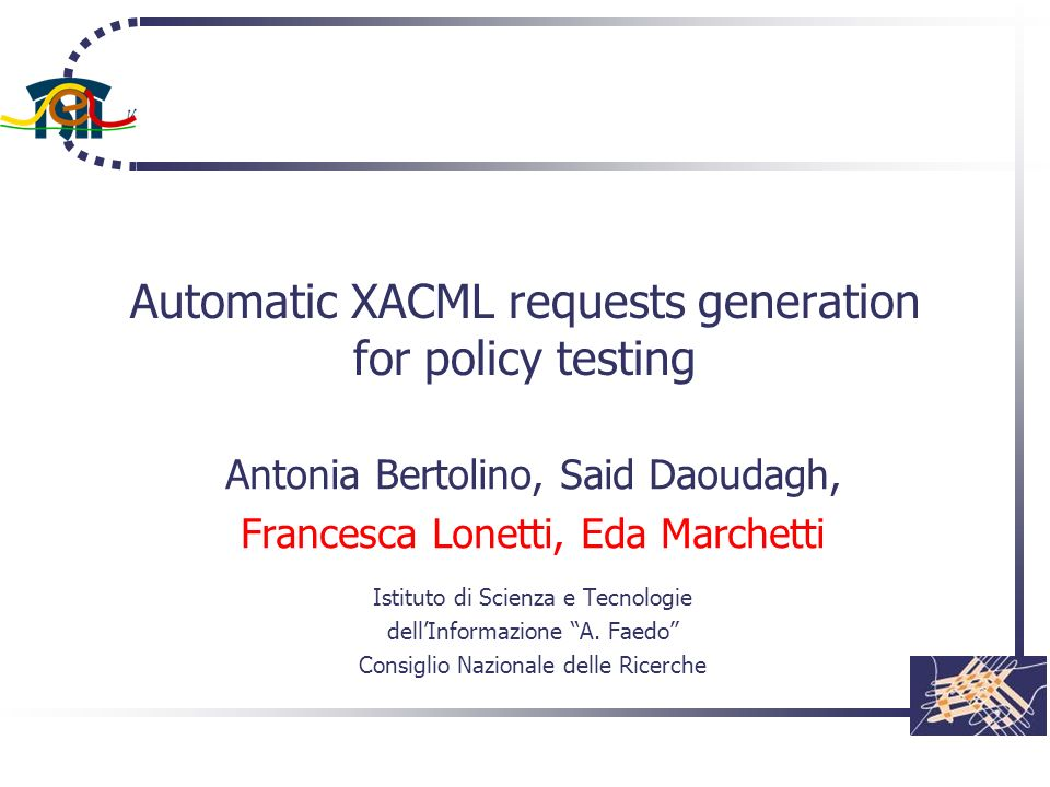Automatic XACML requests generation for policy testing