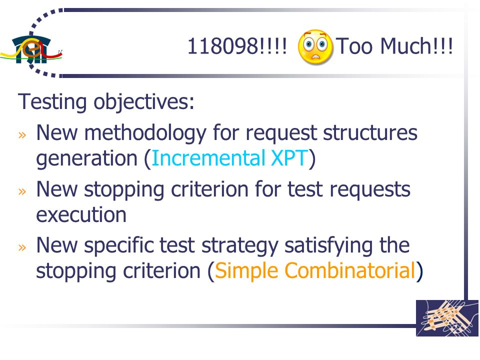 118098!!!! Too Much!!! Testing objectives: