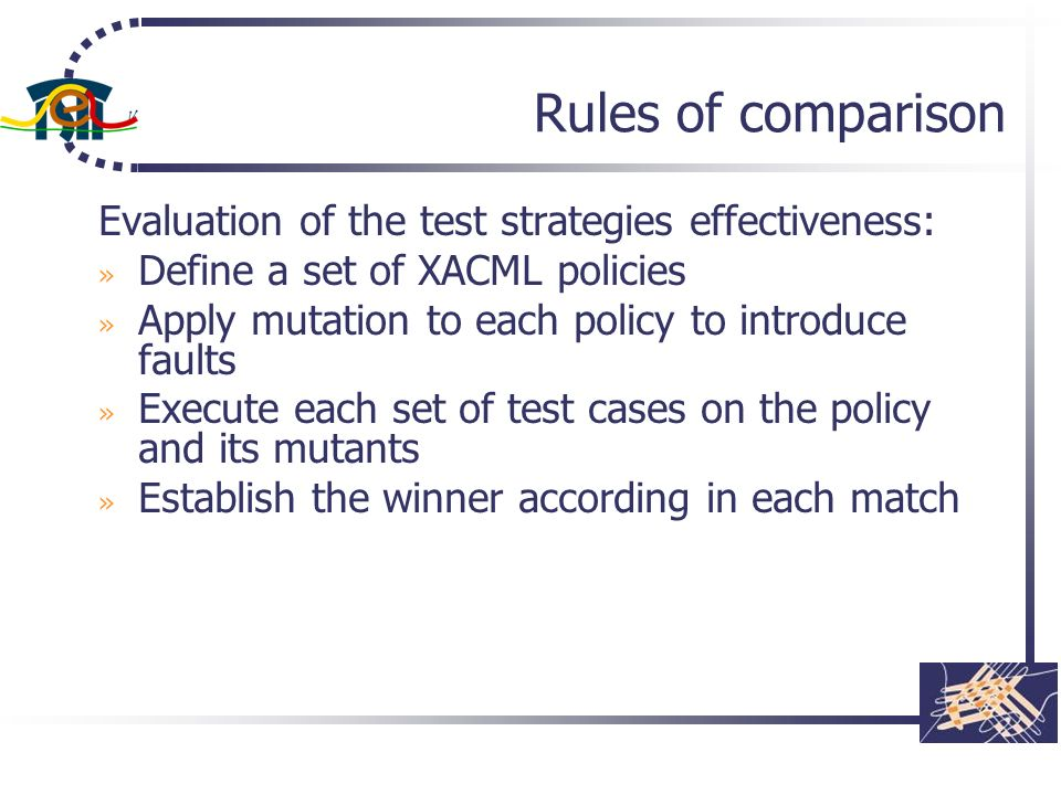 Rules of comparison Evaluation of the test strategies effectiveness: