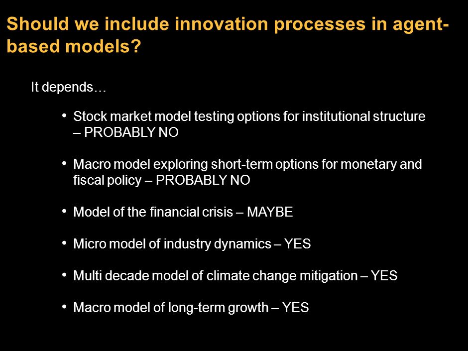Should we include innovation processes in agent-based models