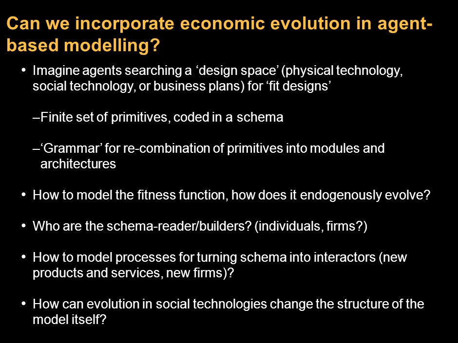 Can we incorporate economic evolution in agent-based modelling