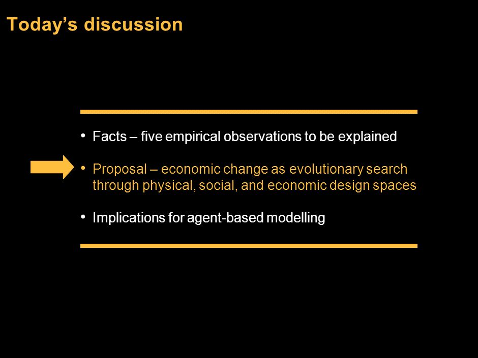 Today's discussion Facts – five empirical observations to be explained
