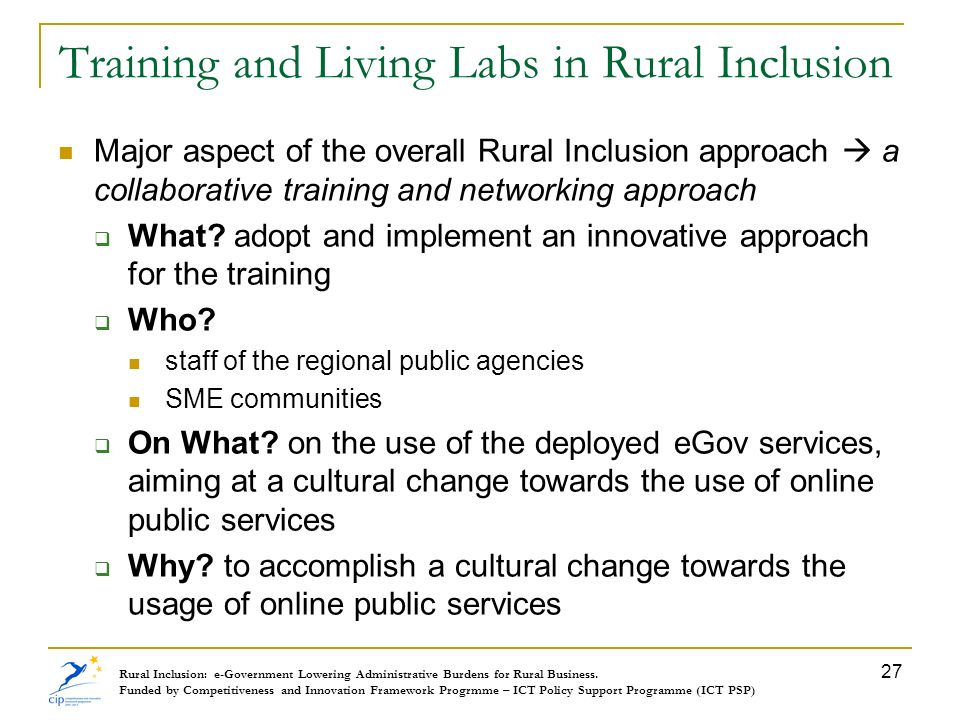 Training and Living Labs in Rural Inclusion