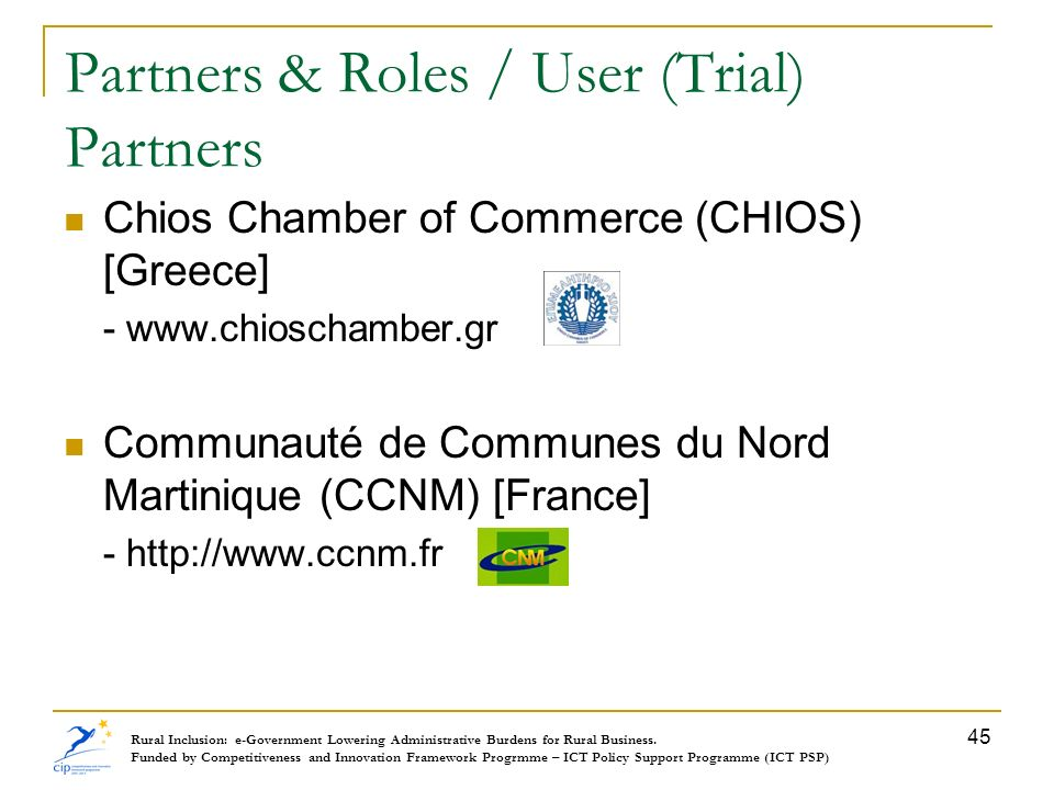 Partners & Roles / User (Trial) Partners