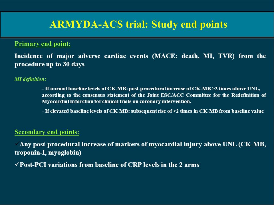 ARMYDA-ACS trial: Study end points