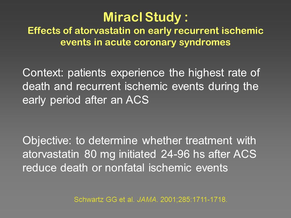 Miracl Study : Effects of atorvastatin on early recurrent ischemic events in acute coronary syndromes