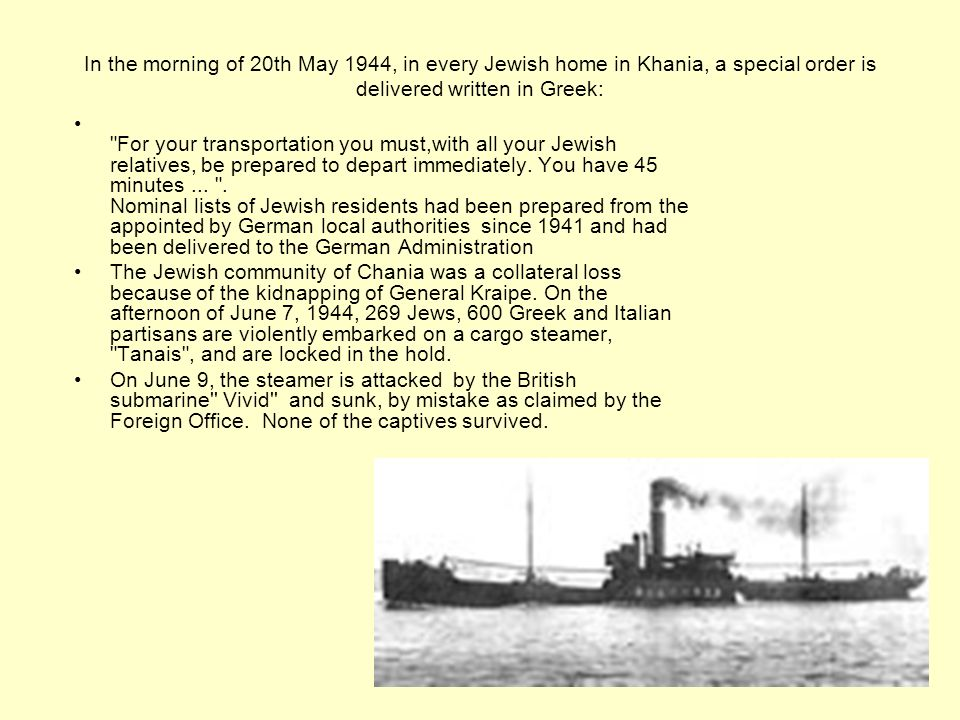 In the morning of 20th May 1944, in every Jewish home in Khania, a special order is delivered written in Greek: