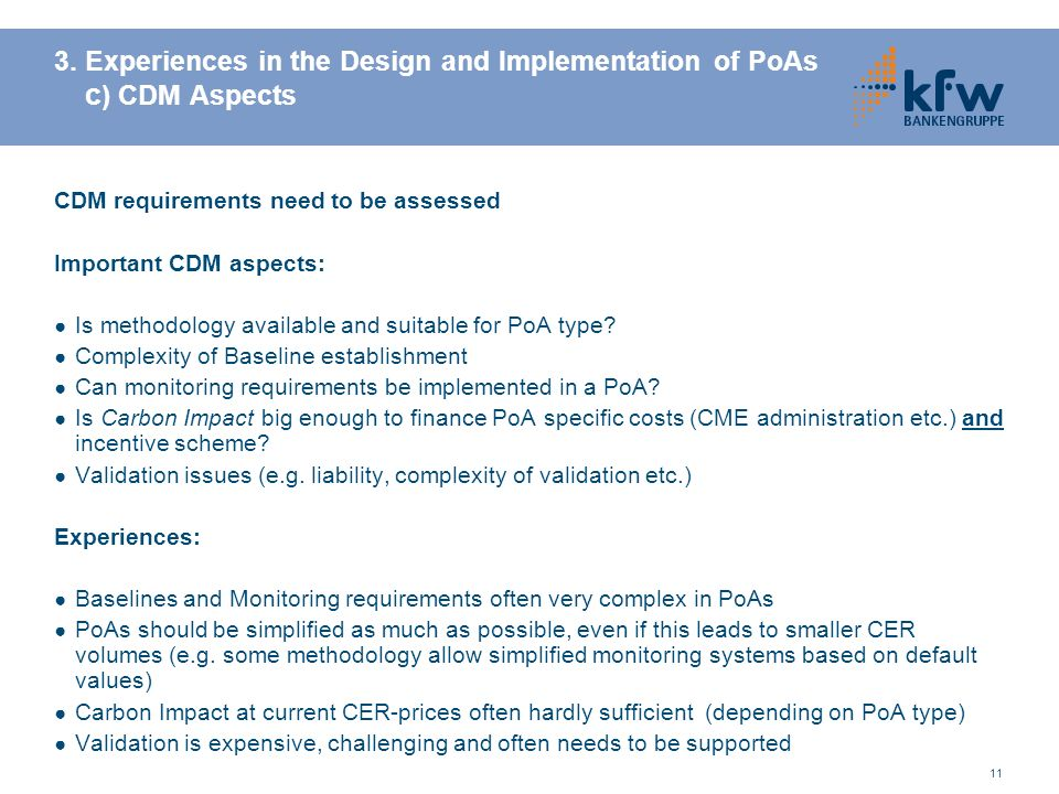 3. Experiences in the Design and Implementation of PoAs c) CDM Aspects