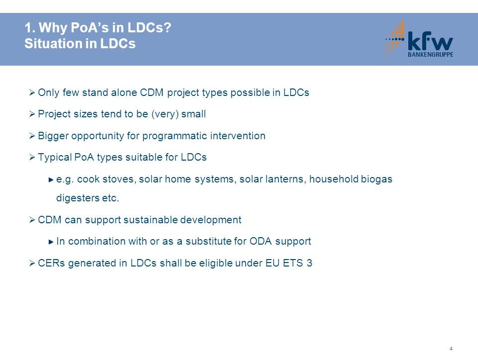 1. Why PoA's in LDCs Situation in LDCs