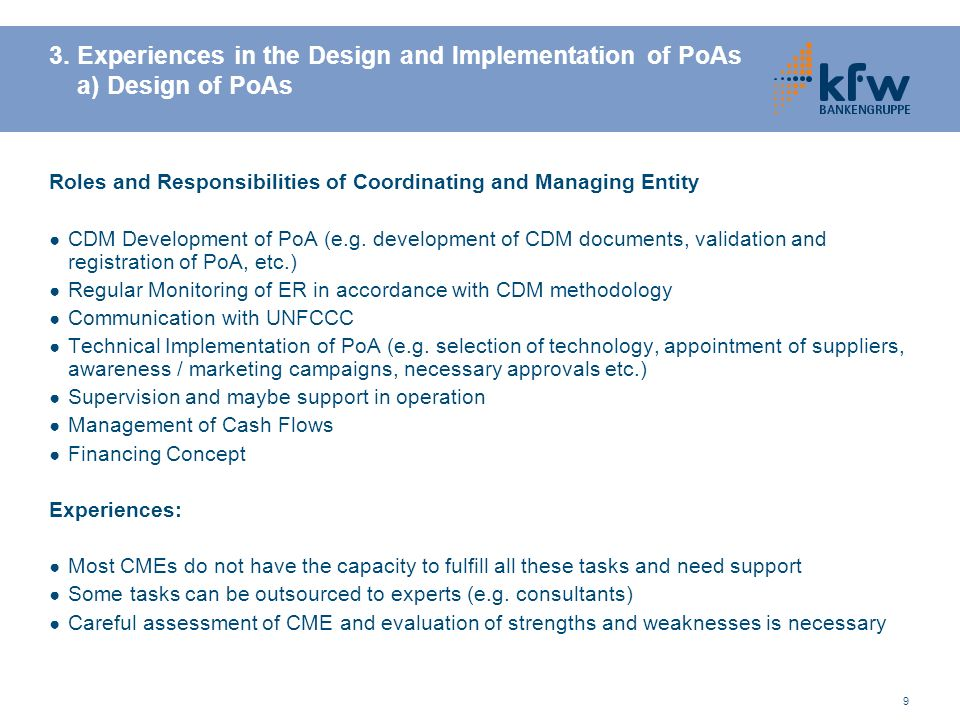 3. Experiences in the Design and Implementation of PoAs a) Design of PoAs