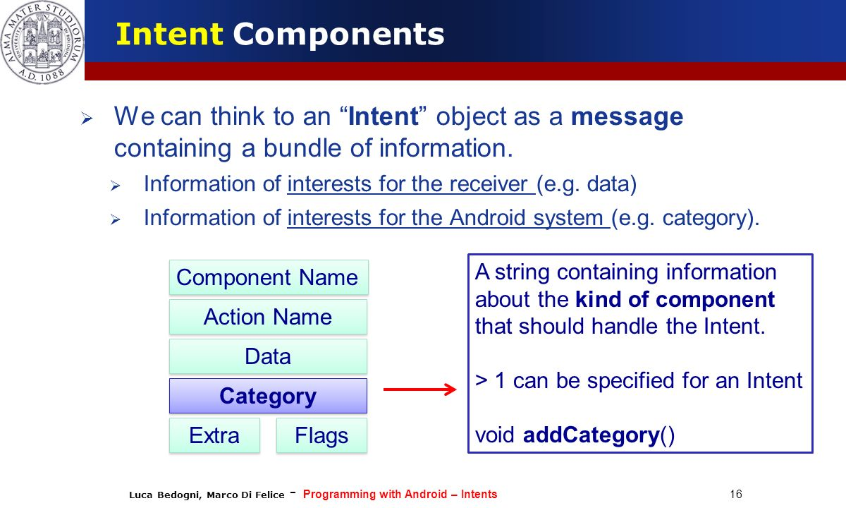 Intent Components We can think to an Intent object as a message containing a bundle of information.