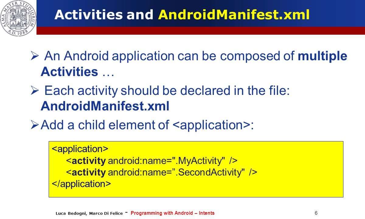 Activities and AndroidManifest.xml