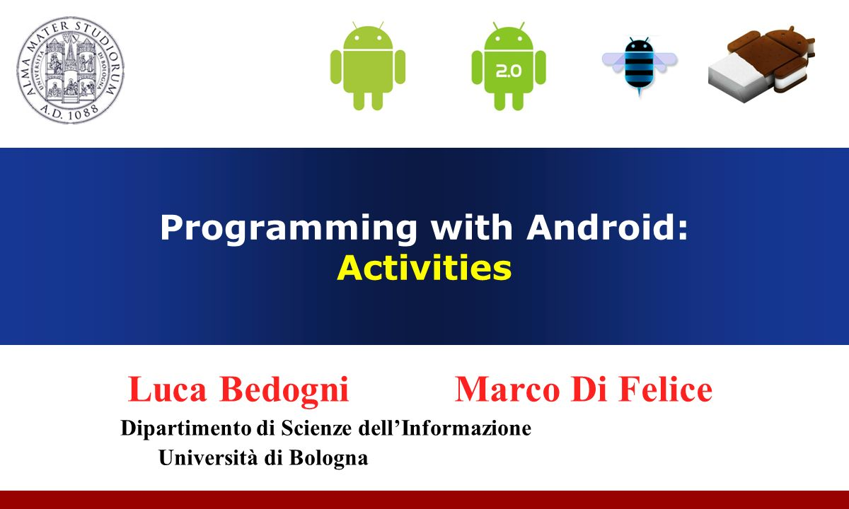 Programming with Android: Activities