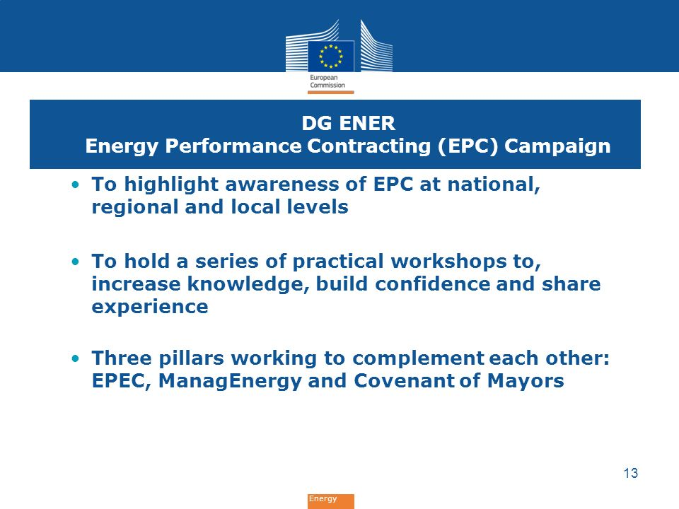 DG ENER Energy Performance Contracting (EPC) Campaign