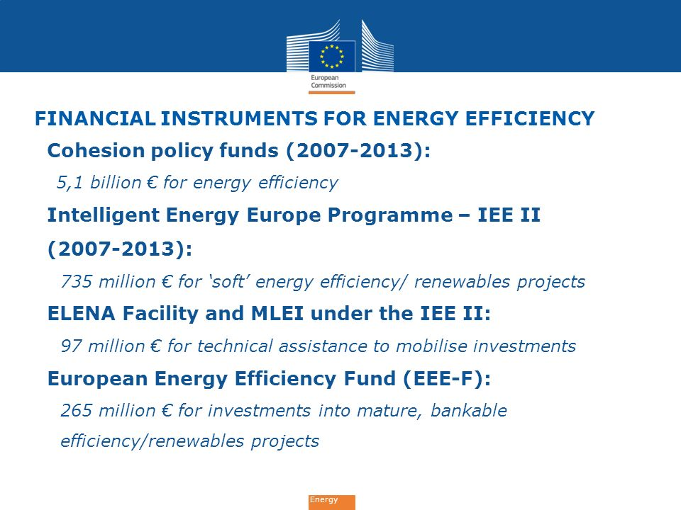 FINANCIAL INSTRUMENTS for ENErgy Efficiency