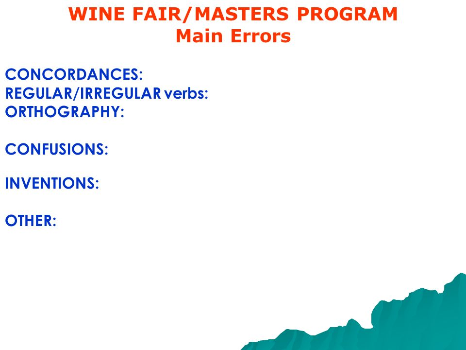 WINE FAIR/MASTERS PROGRAM