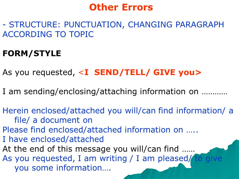 Other Errors - STRUCTURE: PUNCTUATION, CHANGING PARAGRAPH
