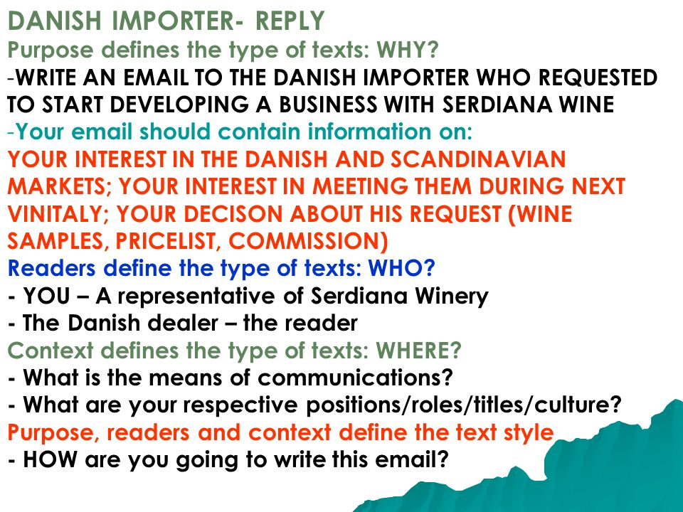 DANISH IMPORTER- REPLY