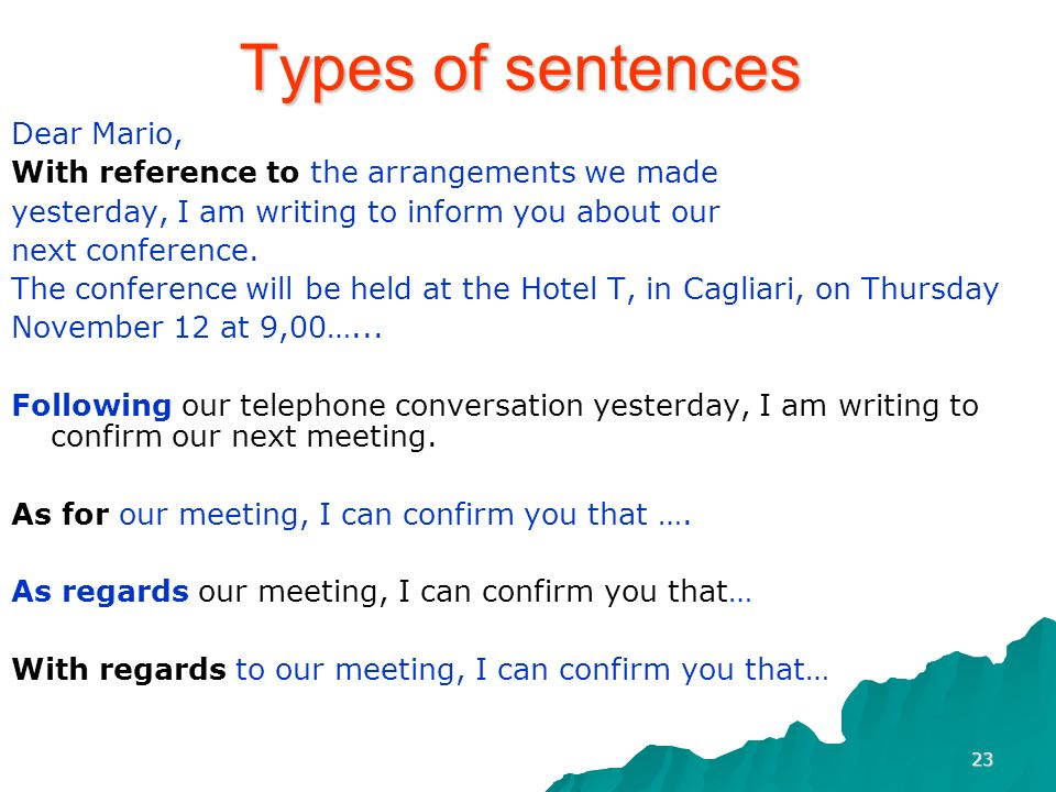 Types of sentences Dear Mario,