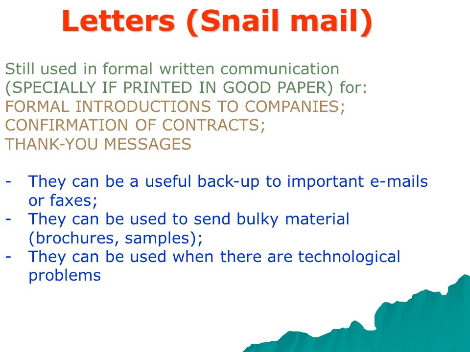 Letters (Snail mail) Still used in formal written communication