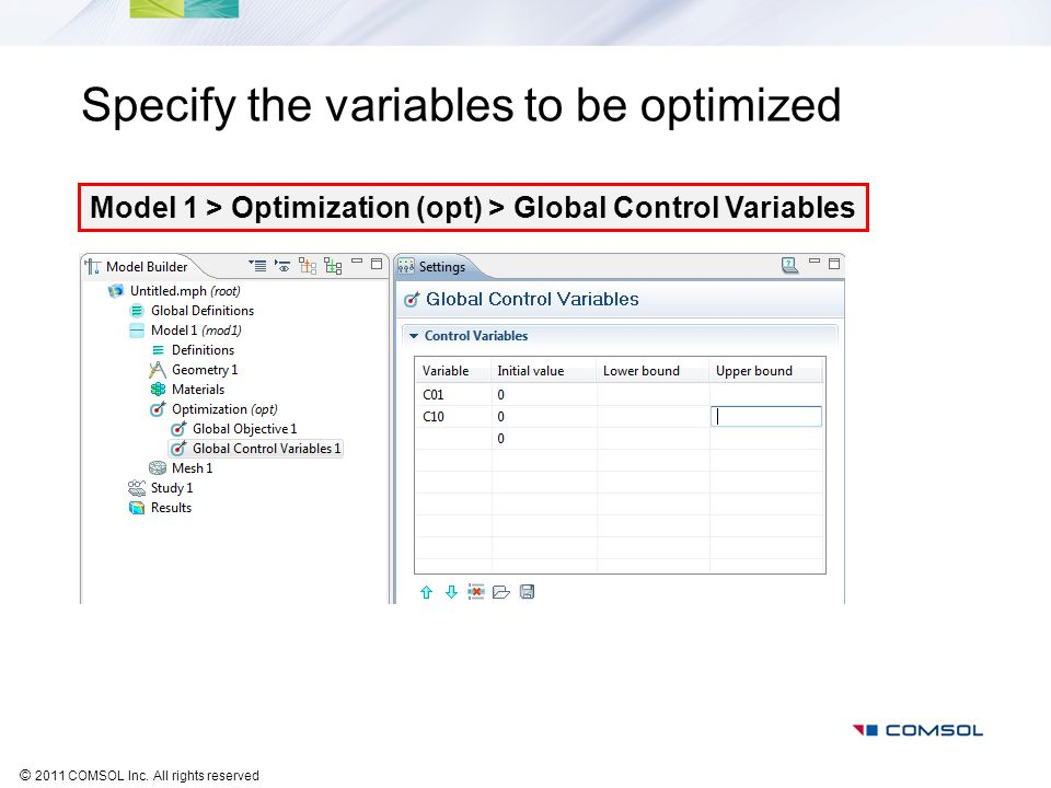 Specify the variables to be optimized