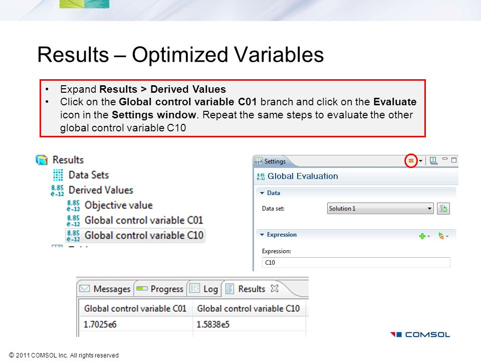 Results – Optimized Variables