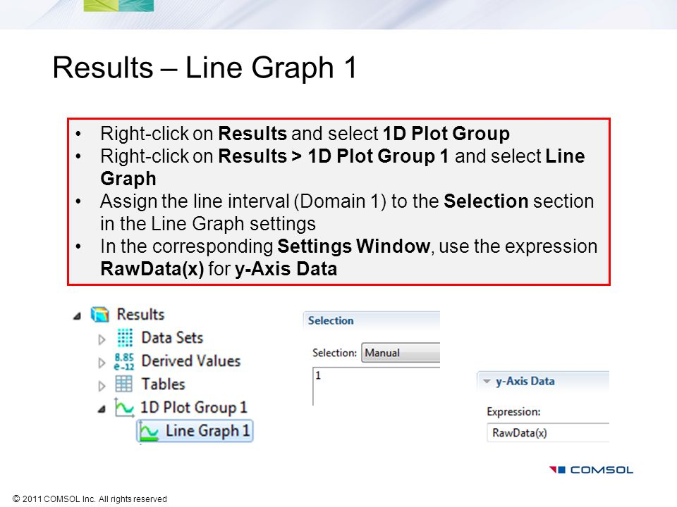 Results – Line Graph 1 Right-click on Results and select 1D Plot Group