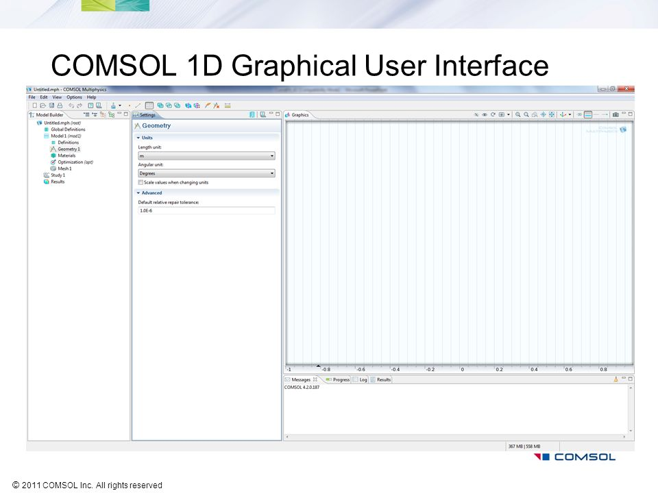 COMSOL 1D Graphical User Interface
