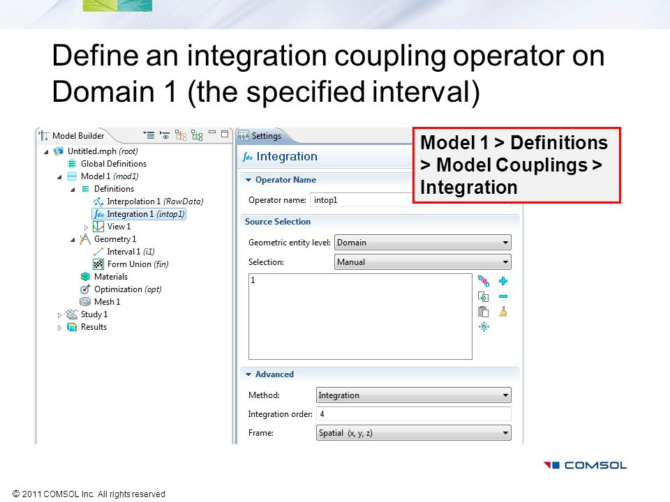 Define an integration coupling operator on Domain 1 (the specified interval)