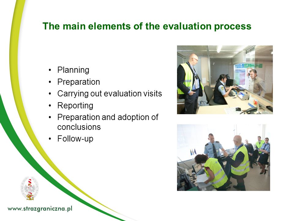 The main elements of the evaluation process
