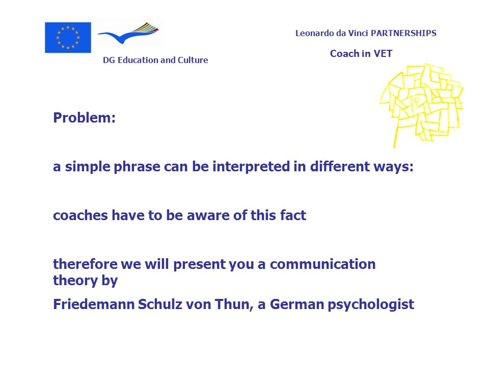 Problem: a simple phrase can be interpreted in different ways: coaches have to be aware of this fact.