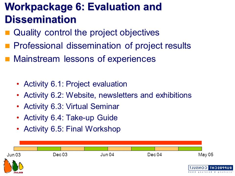 Workpackage 6: Evaluation and Dissemination