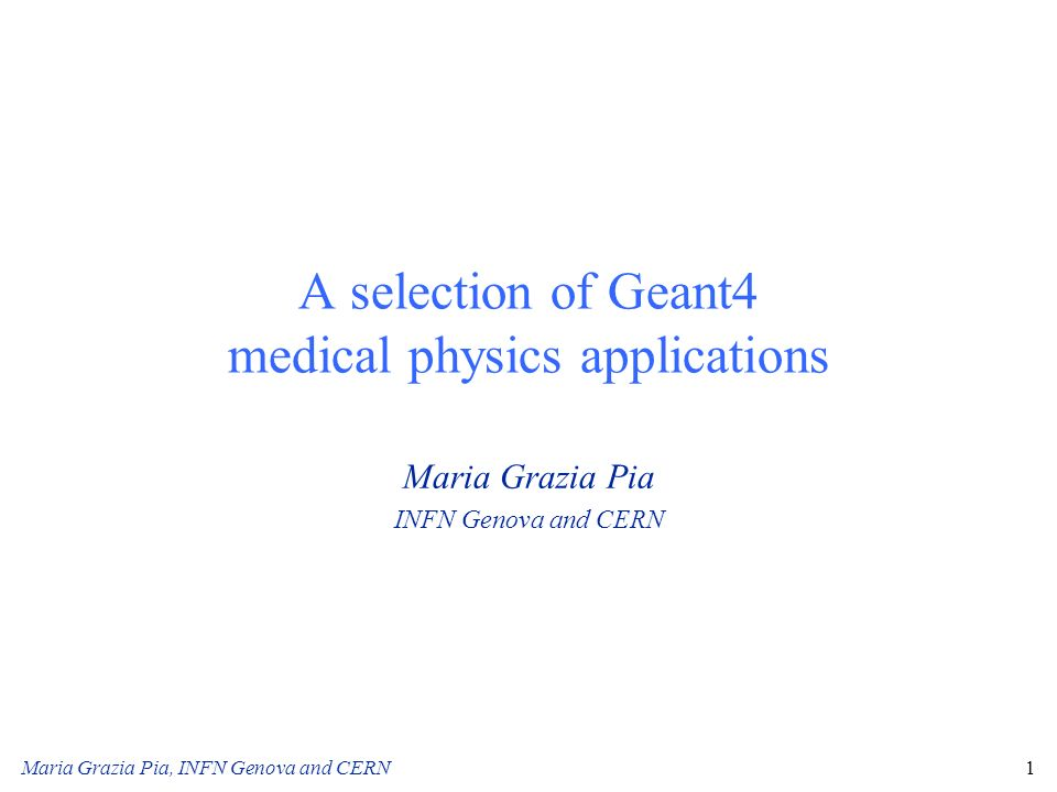 A selection of Geant4 medical physics applications