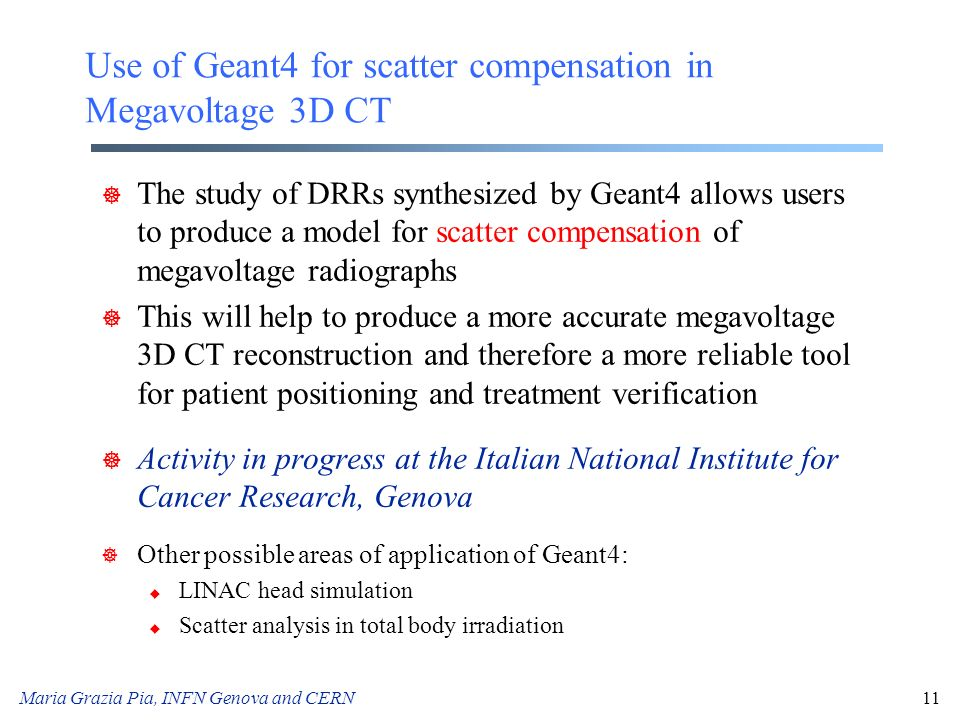 Use of Geant4 for scatter compensation in Megavoltage 3D CT